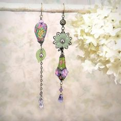 In the Garden  Romantic OOAK Earrings Artisan by MiaMontgomery, $89.00