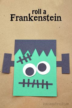 Halloween game for kids ~ Roll A Frankenstein Dulceros Halloween, Halloween Infantil, Classroom Halloween Party, Halloween Party Games, Holidays Halloween, Halloween Craft Activities, Halloween Art Projects, Halloween Decorations For Kids, Halloween Activities For Kids