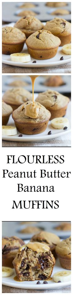 Flourless Peanut Butter Banana Muffins- made without dairy, gluten, oil or refined sugar.They're so moist and delicious, you would never guess that they're healthy!