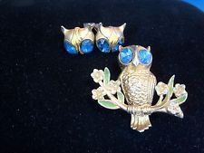 Vintage Coro or other designer signed Owl Fur Clip / pin  Earrings Set