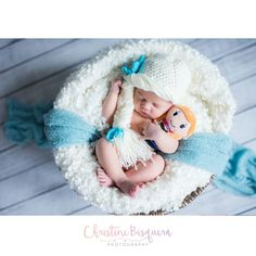 Crocheted newborn Frozen inspired Elsa beanie