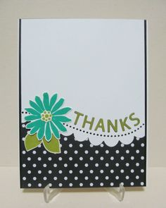 Thanks Card with Flower, Handmade Thanks Card, Die Cut Thanks Card by SavvyHandmade on Etsy