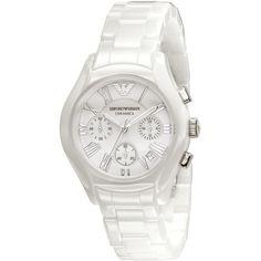 Emporio Armani Watch, Women's Chronograph White Ceramic Bracelet