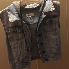 Jean jacket best with Hoodie Cool jacket that can go with many shirts!! Worn only a handful of time but is still in brand new condition.(made to fit almost like a crop) Jackets & Coats Vests