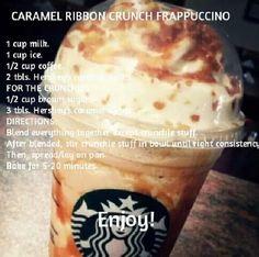 DIY caramel ribbon crunch the hubs! Starbucks Frappuccino, Starbucks Caramel, Starbucks Drinks, Starbucks Coffee, Dessert Drinks, Yummy Drinks, Dessert Recipes, Yummy Food, Smoothie Drinks