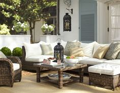 Nice spot of the house to hang out with friends and family:D Torrey All-Weather Wicker Sectional Set (Pottery Barn) Outside Furniture, Modern Outdoor Furniture, Outdoor Rooms, Outdoor Living, Outdoor Decor, Outdoor Seating, Outdoor Sectional, Wicker Furniture, Garden Furniture