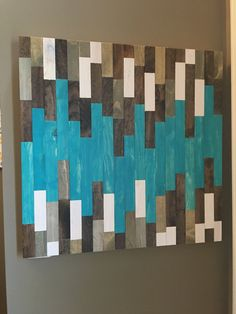 Wood Wall Art - Made to Order & Ready to Ship in 4-6 weeks. FREE SHIPPING. Gorgeous wall art made from individually cut and stained pieces of wood. This piece is 24 X 24 inches. Proper hangers are attached for easy hanging. Contact us directly for customization of piece, whether it be Rustic Wood Decor, Reclaimed Wood Art, Rustic Wall Art, Wood Wall Decor, Wooden Wall Art, Diy Wall Art, Diy Art, Wood Mosaic, Mosaic Art