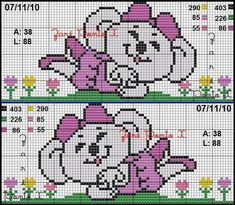 Gráfico da Lilica Ripilica (ambos os lados)       Fiz em uma toalha rosa e modifiquei algumas cores (não reparem na toalha toda amassada....