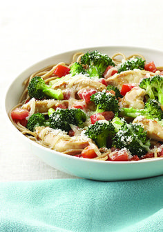 Parmesan, Chicken & Broccoli Pasta for Two – Chicken and broccoli are served on a bed of whole-wheat pasta in this weeknight-easy dish for two. Sprinkle with Parmesan cheese and serve for a wonderful at-home date night.