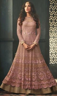 Pink Color Shaded Embroidered Net Lahenga Suit