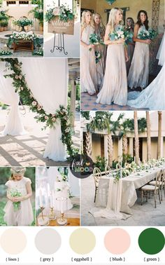 Beautiful colour palette with green undertone. Green and Neutral Wedding Colour Palette with blush accents. Neutral colours are as timeless,neutral colour - Beautiful colour palette with green undertone. Green and Neutral Wedding Colour . Neutral Wedding Colors, Summer Wedding Colors, Wedding Color Schemes, Green Wedding, Wedding Flowers, Colour Schemes, Wedding Colour Palettes, Wedding Ceremony Ideas, Decor Wedding