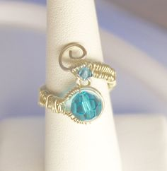 Adjustable Austrian crystal ring.  Sterling by Jewelrybeyondthesea