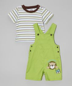 Look at this #zulilyfind! Peanut Buttons White & Green Stripe Tee & Lion Overalls - Infant by Peanut Buttons #zulilyfinds