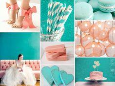 peach and aqua wedding theme
