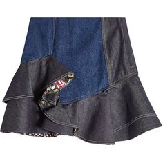 Alexander McQueen Printed Ruffle Denim Skirt (10509905 PYG) ❤ liked on Polyvore featuring skirts, mini skirts, blue, mini skirt, flounce skirt, ruffle skirt, ruffle mini skirt and blue skirt