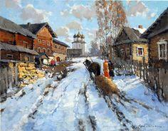 Alexander Kremer, Russian, Old Ladoga, oil on canvas, 70 x 90 cm