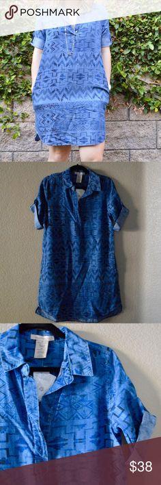 philosophy chambray aztec print shirt dress gorgeous, super soft dress! modest length. 100% tencel. Philosophy Dresses