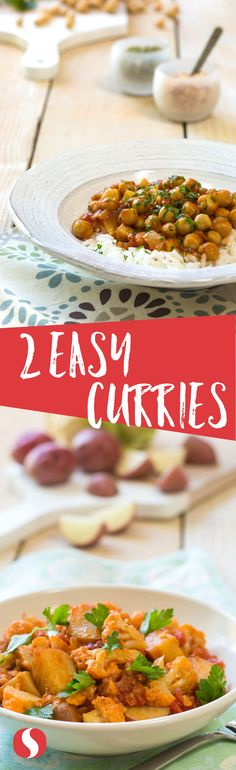 Curry in a hurry! These two super simple curry recipes will take less than 30 minutes each to make and are packed with full flavors and valuable nutrients. (Chicken Curry In A Hurry) Indian Food Recipes, New Recipes, Dinner Recipes, Cooking Recipes, Favorite Recipes, Ethnic Recipes, Curry Recipes, Vegetarian Recipes, Healthy Recipes