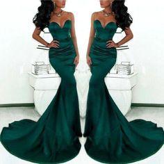 Unique Design Dark Green Mermaid Prom Dresses Long Train Flattered Fitted Formal Women Dresses Elegant Evening Dress