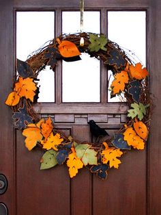 Love this fall wreath with felt leaves and a little black bird to finish it off. Would be so easy to make with my Silhouette!