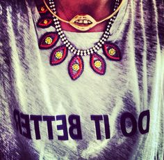 Acne tee shirt and Mr. Dannijo necklace and Aurelie Bidermann lips chocker