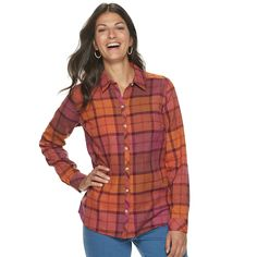 Women's Croft & Barrow® Plaid Flannel Shirt