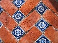 Use of tiles and brick together. This is a unique mix of the two that I have not seen before. It can add color and pattern. Maybe I can get in my Mexican tiles without such a steep cost Unique Flooring, Flooring Ideas, Inexpensive Flooring, Patio Flooring, Brick Flooring, Flooring Options, Brick Tiles, Carpet Flooring, Flur Design