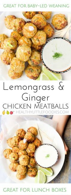 Chicken meatballs with a lemongrass and ginger dip are a great finger food for babies / kids. Enjoy as part of a meal or pack into the lunchbox. #blw #babyledweaning #kidfood via @hlittlefoodies