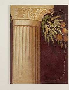 Roman Fresco -- Wall painting fragment from the peristyle of the Villa of P. Fannius Synistor at Boscoreale -- Late Republican - Circa 50-40 BCE