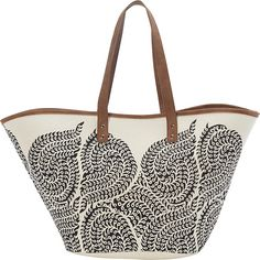 Sun 'N' Sand Rona Tote (626.010 VND) ❤ liked on Polyvore featuring bags, handbags, tote bags, black, pattern tote, oversized tote bags, oversized handbags, print tote and shopping tote