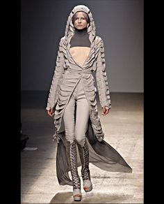 Open toed lace up boots, hooded long trench coat Gareth Pugh Summer 2010