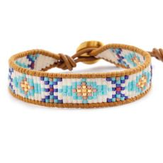 Turquoise Mix Beaded Bracelet on Henna Leather