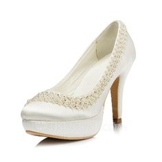 Wedding Shoes - $75.99 - Women's Silk Like Satin Cone Heel Closed Toe Pumps With Imitation Pearl (047046367) http://jjshouse.com/Women-S-Silk-Like-Satin-Cone-Heel-Closed-Toe-Pumps-With-Imitation-Pearl-047046367-g46367