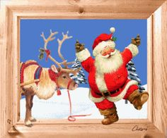 gif animé noël: père noël danse dans la neige et son renne le regarde.