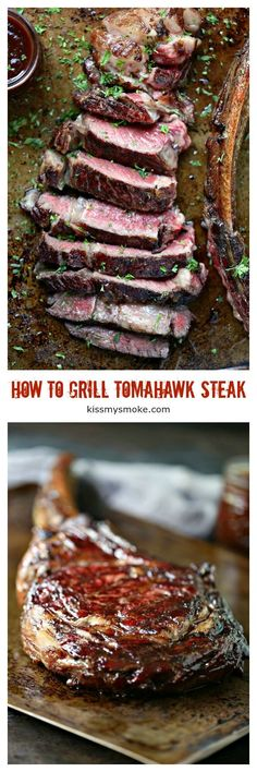 How to Cook a Tomahawk Steak from kissmysmoke.com. Tomahawk steak is meant for reverse searing on the grill. It will ensure the a juicy, tender steak every time. Every bite is sheer perfection! #grill #tomahawk Outdoor Cooking Recipes, Grilling Recipes, Beef Recipes, Barbecue Recipes, Easy Dinner Recipes, Easy Meals, Dessert Recipes, Summer Recipes, Easy Recipes