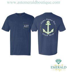 Emerald Boutique Custom  | We're loving this Alpha Sigma Tau Greek Week Pocket T Shirt! Start your custom chapter order today!