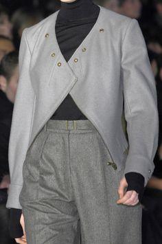 Grey wool jacket & trousers; runway fashion details // Yves Saint Laurent Fall 2008