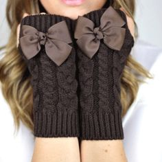 chocolate mocha brown bow adorned fingerless gloves.