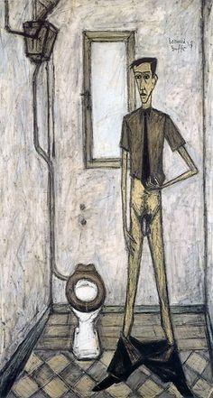 Homme au cabinet, huile sur toile, 203 x 110 cm, 1947. Musée Bernard Buffet.