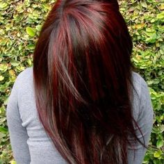 chunky highlights for dark brown hair | brown hair with blonde and red highlights and lowlights