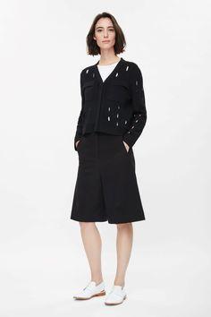 COS black cardigan with slits