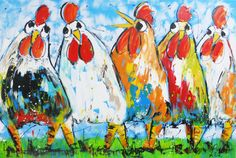 vrolijke gekleurde kippen - www.vrolijkschilderij.nl