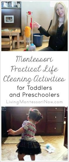 Ideas and resources for Montessori practical life cleaning activities for both toddlers and preschoolers - post includes YouTube video