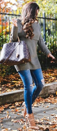 #fall #street #trends | Grey off The Shoulder Knit + Jeans