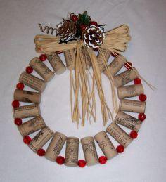 Wreath, Holiday, Red Berries, Cork Wreath, Wine Corks. $25.00, via Etsy.
