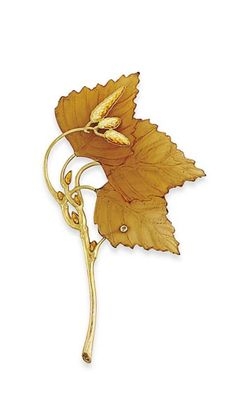 RENÉ LALIQUE | AN EARLY 20TH CENTURY HORN AND ENAMEL BROOCH. Realistically modelled as a billowing branch with textured bark detail and guilloché enamel bud accents, to the principal carved horn three leaf panel, mounted in gold, circa 1900.