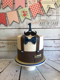 Boy 1st Birthday Cake - Mustache & Bow Tie Little Man