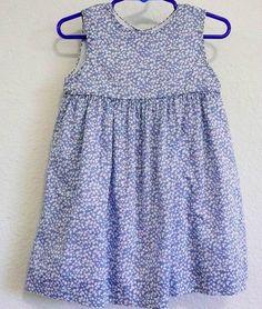 Pottery Barn Kids Blue Floral Jumper Summer Dress Sz 18 24 months Lace Slip #PotteryBarnKids #Everyday