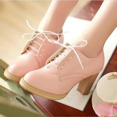 """Pink+PU+heels = dressed for a perfect Thursday night!  Want ? shop it soon and use coupon code """"cutekawaii"""" for 10% off"""