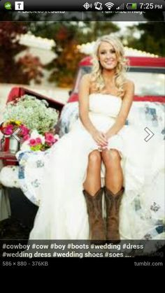 Country wedding dress with boots great pic idea also LOVE THIS PIC